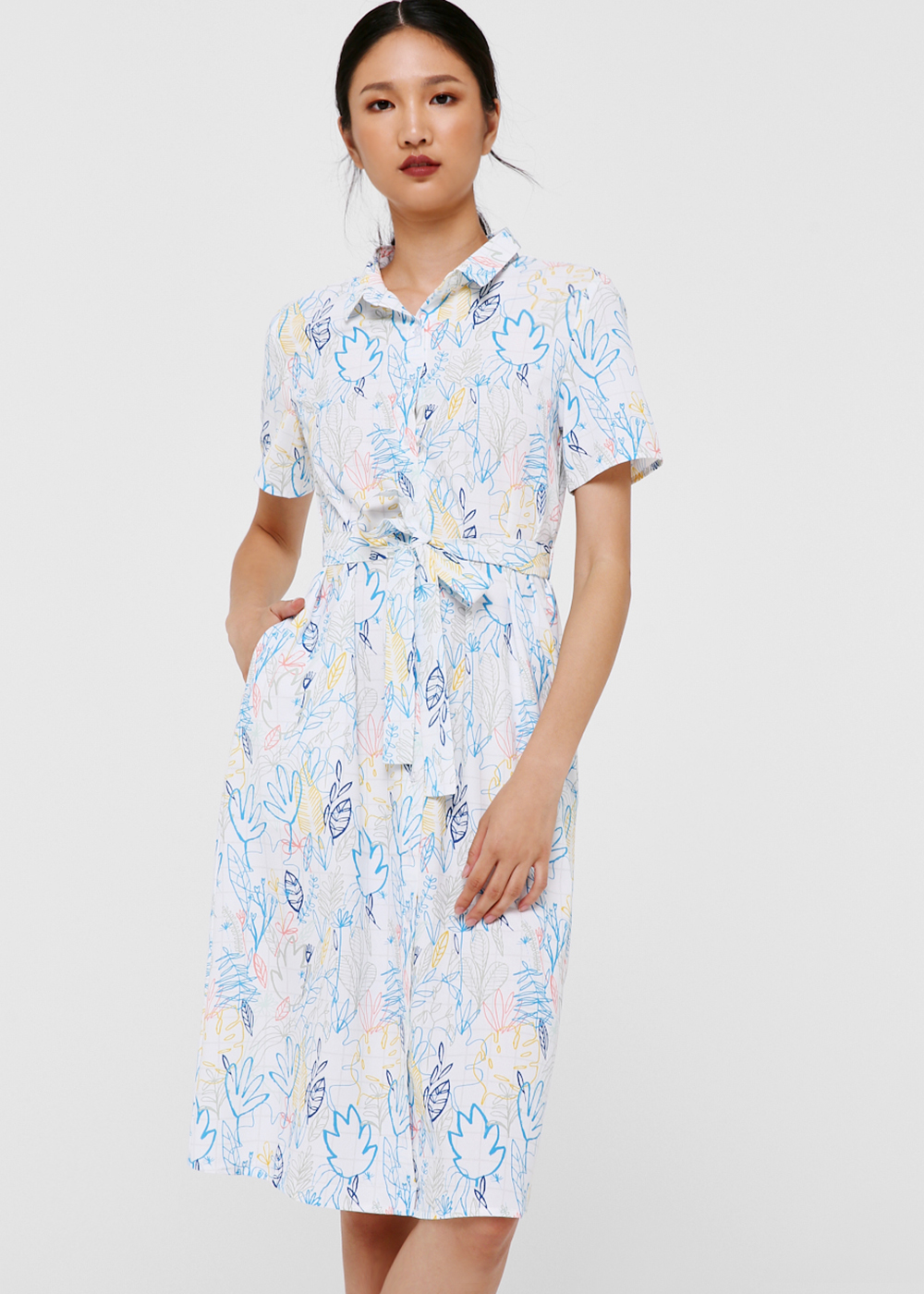 Luna Tie Front Shirt Dress in Dancing Foliage