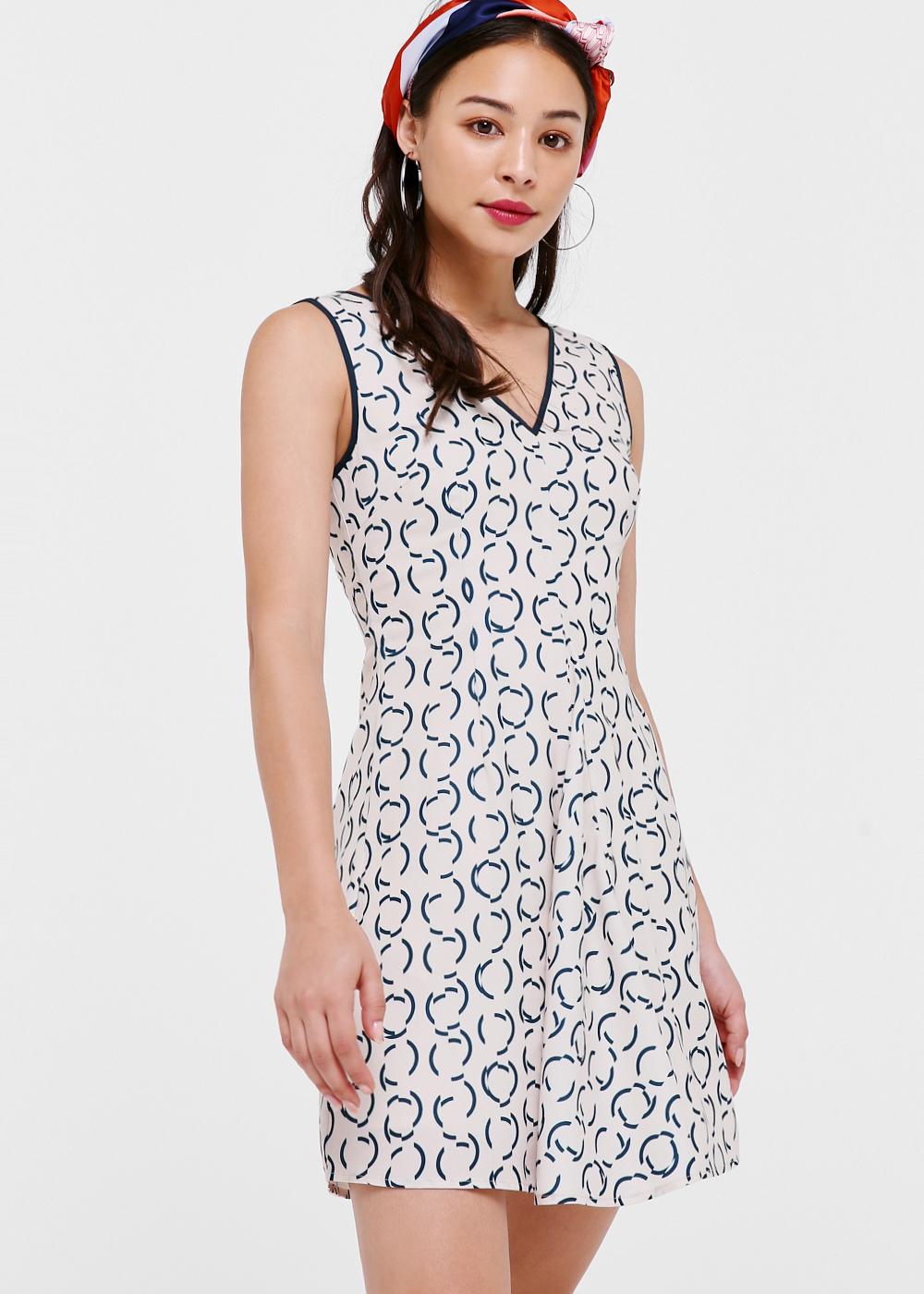 Maeve V-neck Pleated Dress in Retro Stencil