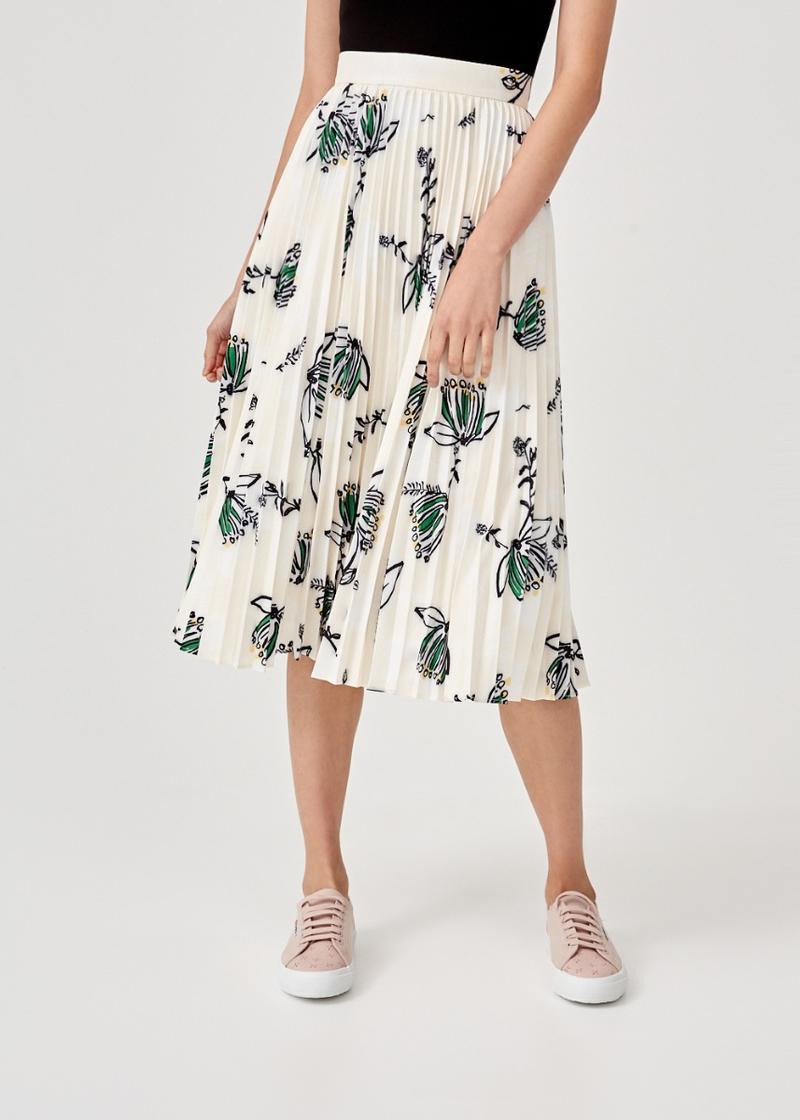 Beatrix Pleated Midi Skirt in Honeysuckle Tea