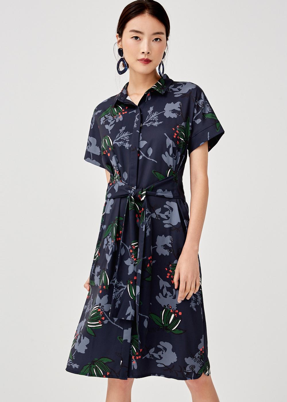 Breanna Tie Front Midi Shirt Dress in Honeysuckle Tea