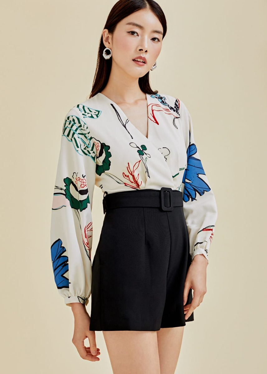 Paloma Belted Contrast Romper in Flora Reverie