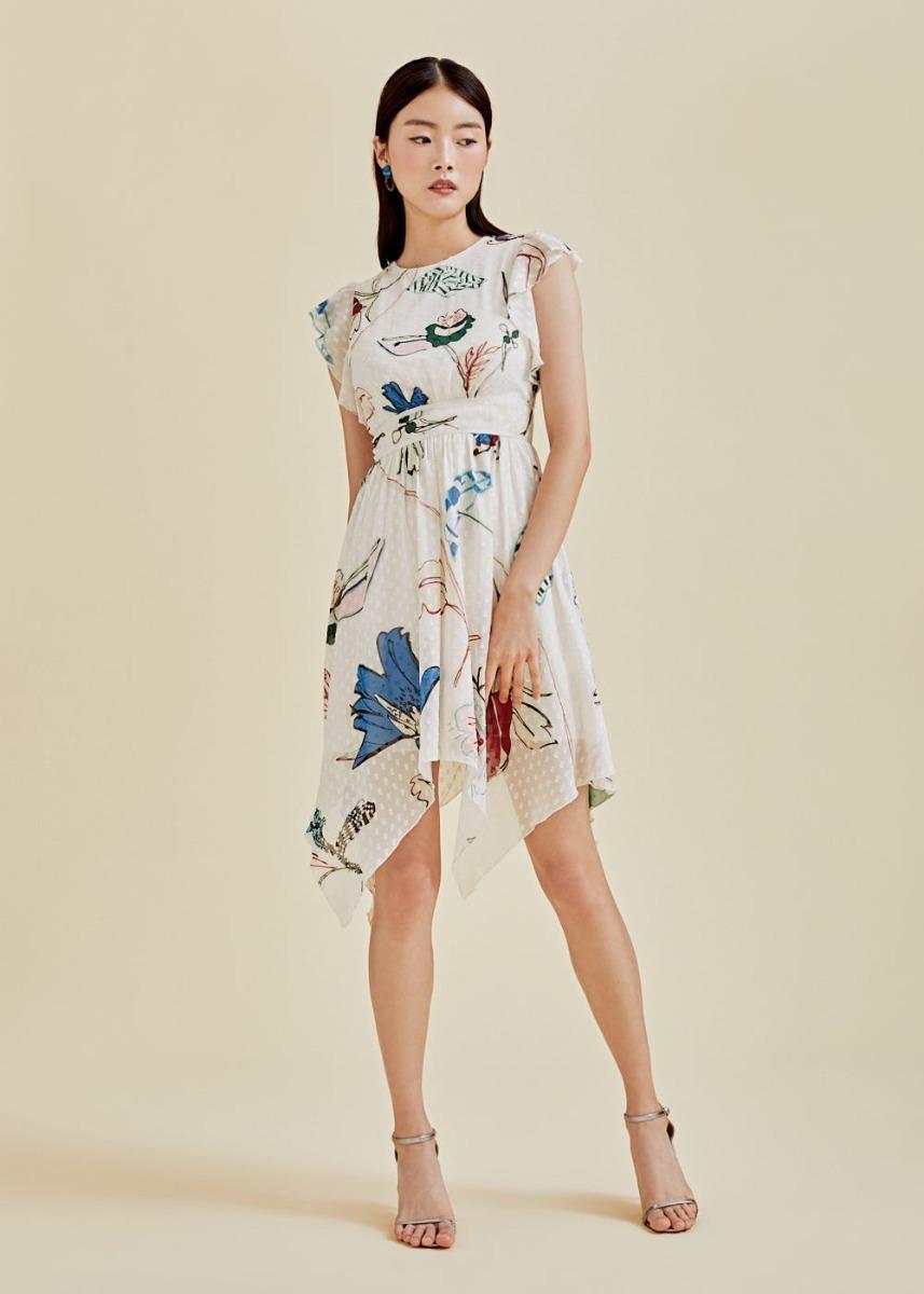 Lenox Dobby Dot Dress in Flora Reverie