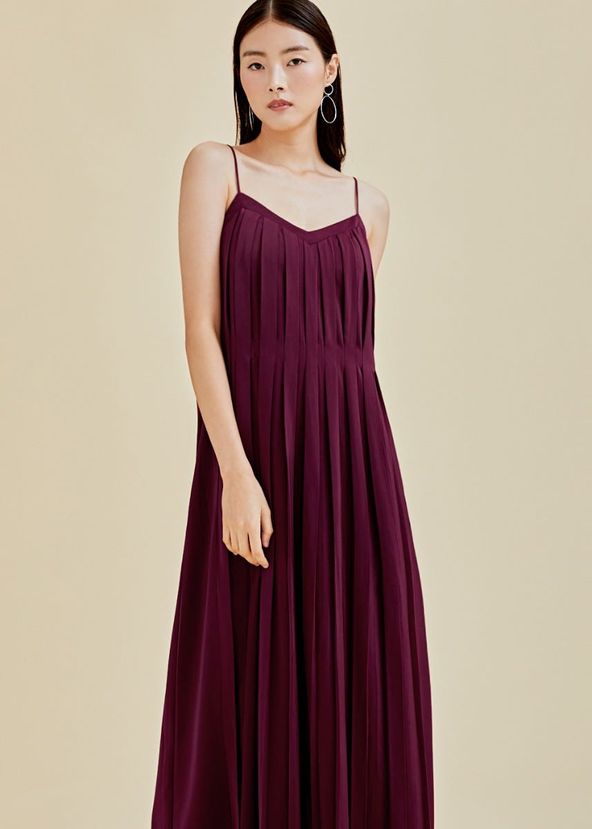 Talia Pleated Maxi Camisole Dress