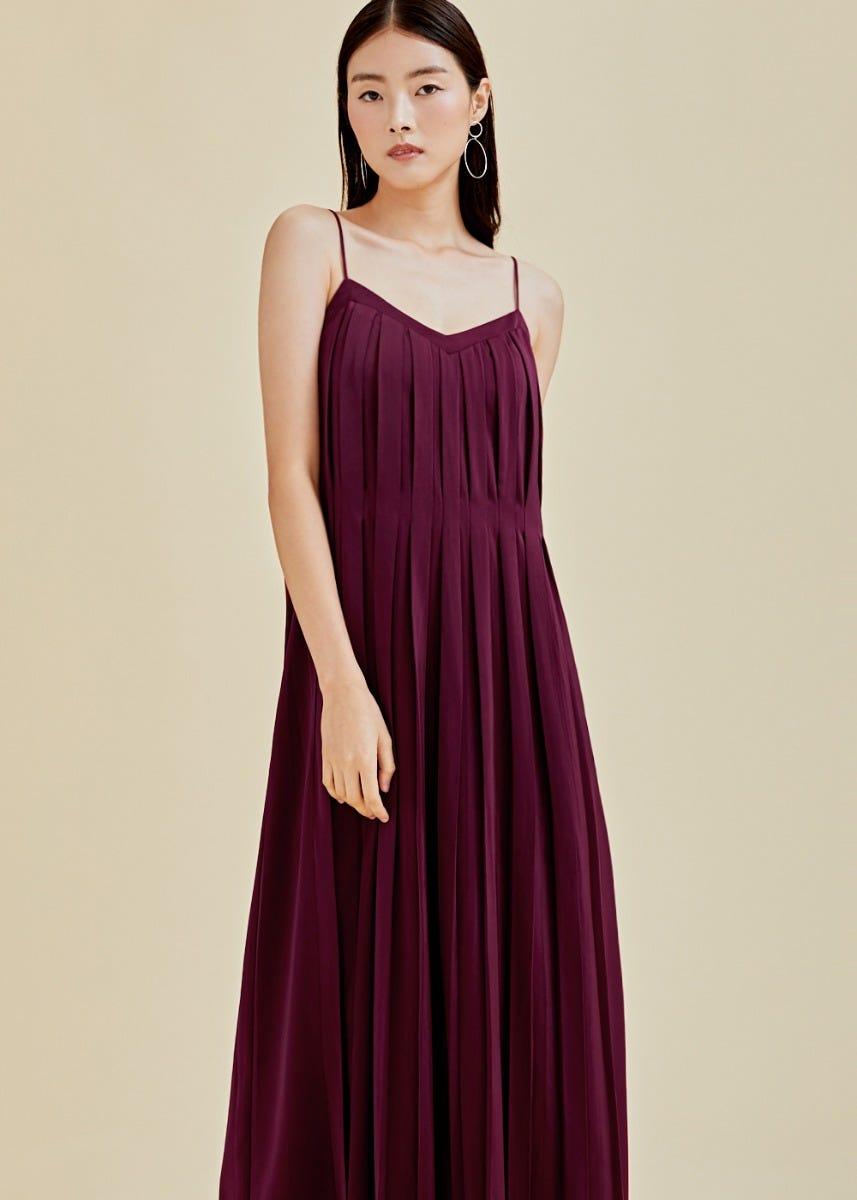 Talia Pleated Maxi Camisole Dress