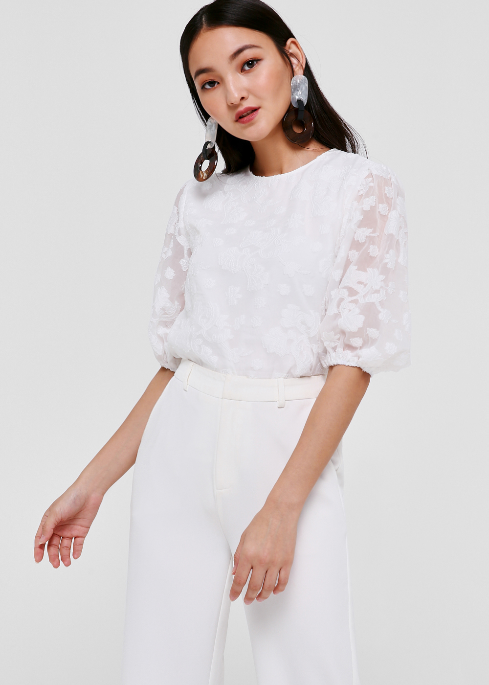 Esther Puff Sleeve Jacquard Top