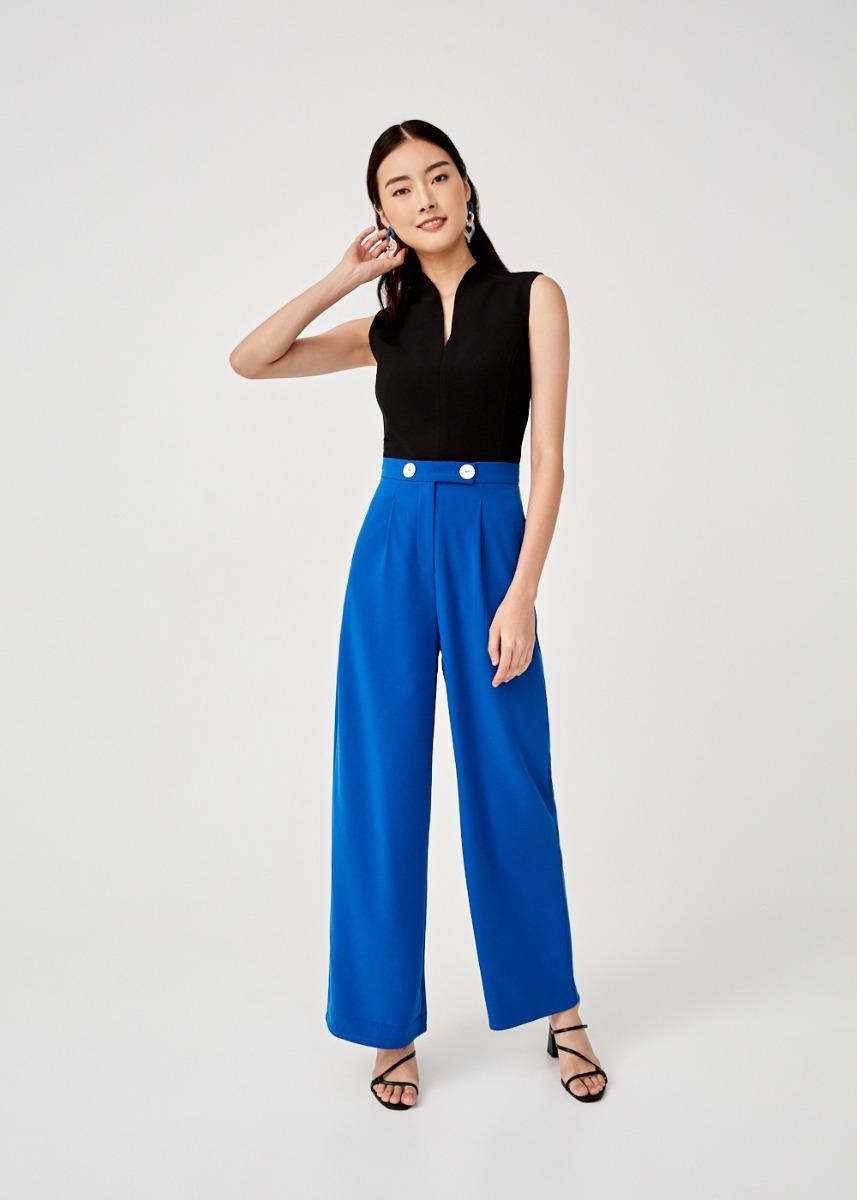 Orabelle Button Front Wide Leg Pants
