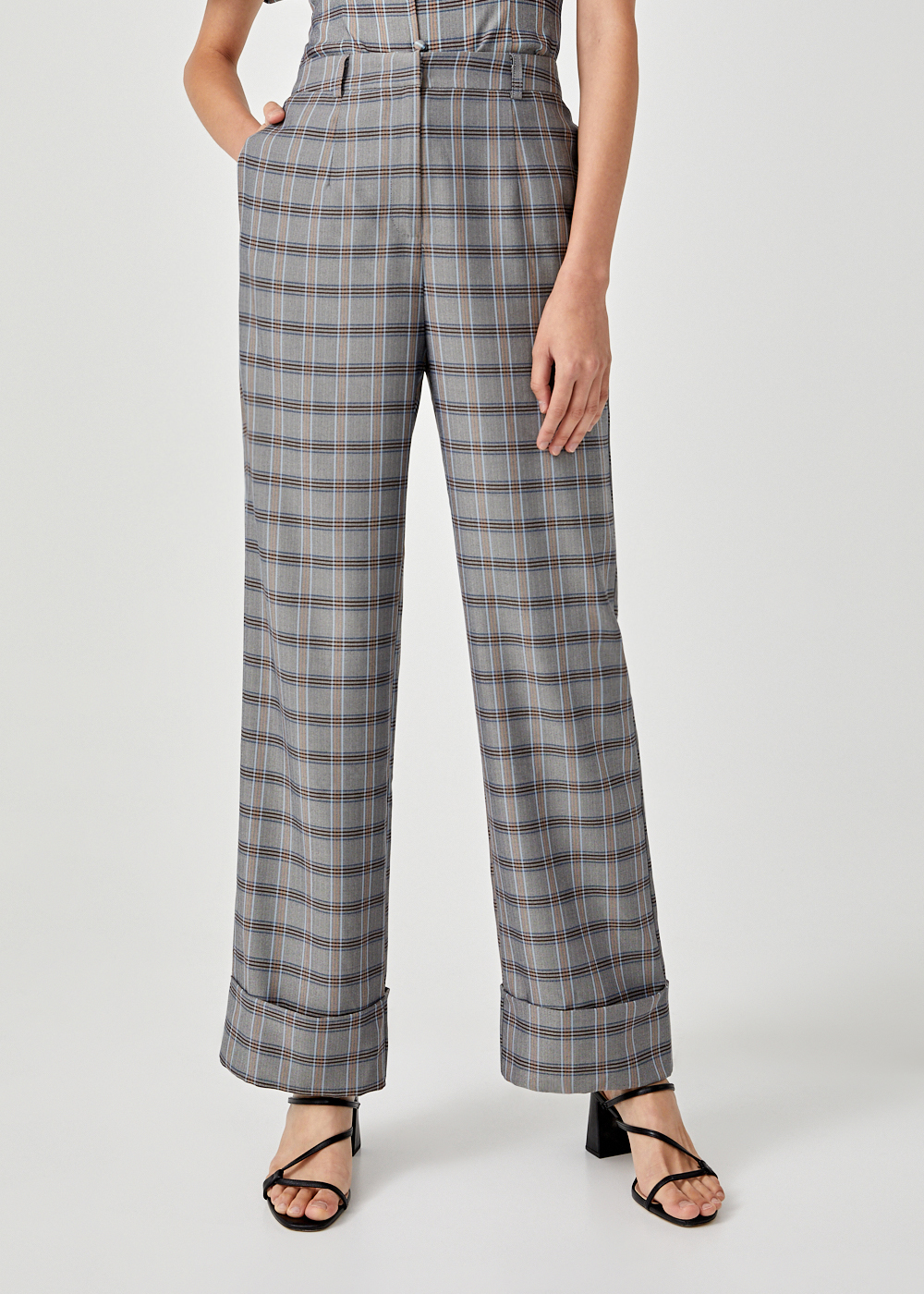 Nathalie Plaid Straight Leg Pants