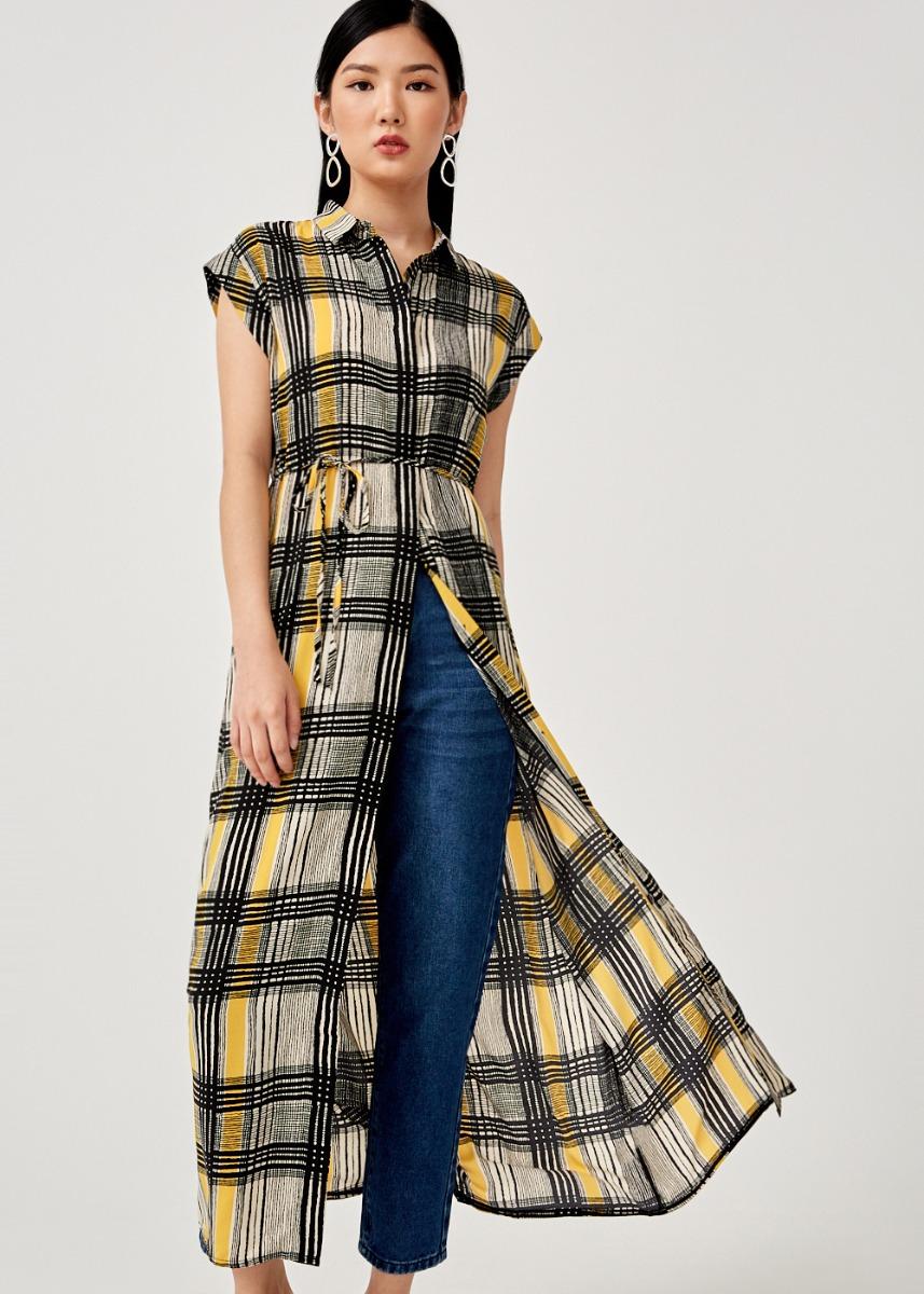 Kelene Checkered Maxi Shirt Dress