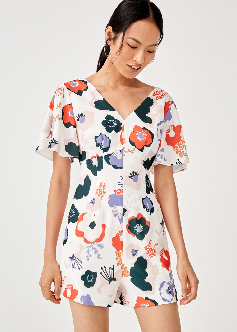 Monika Flutter Sleeve Romper in Anemone Bloom