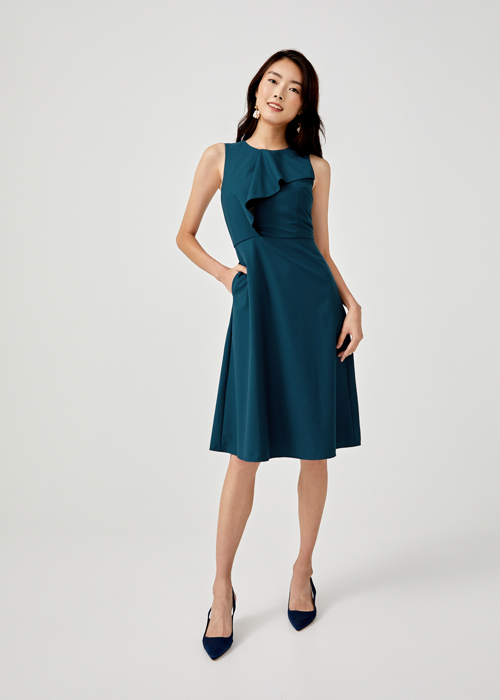 Shanette Cascade Midi Dress