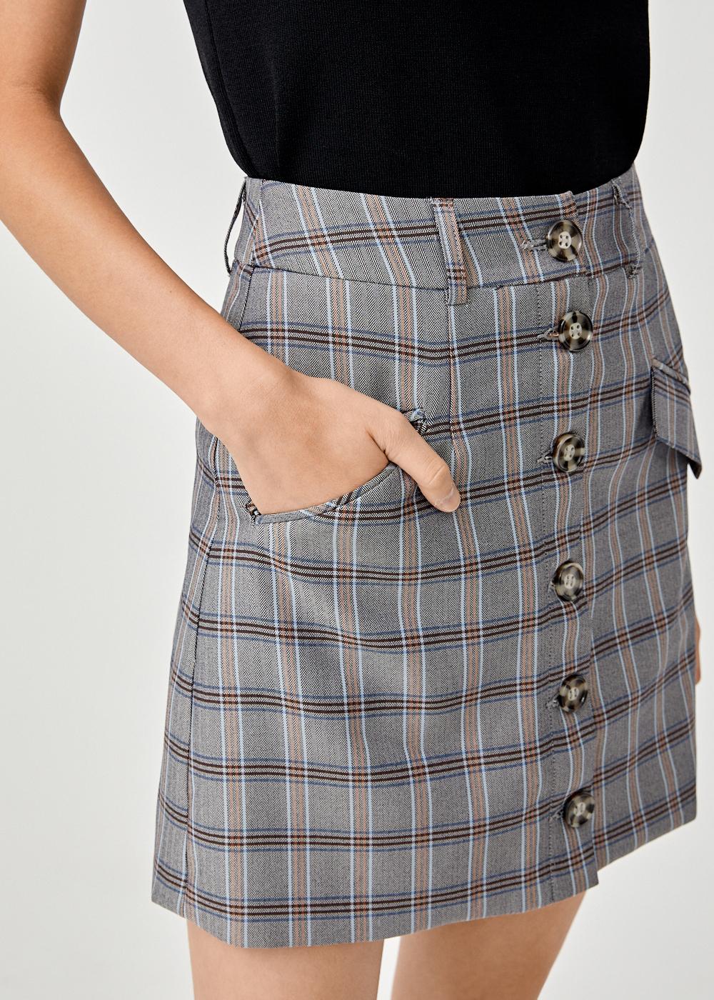 Nathalia Plaid A-line Mini Skirt