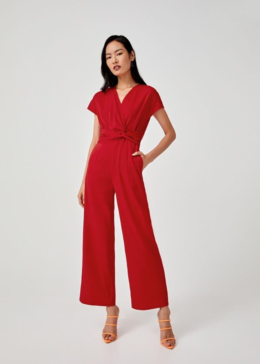 Vivika Satin Twist Front Jumpsuit
