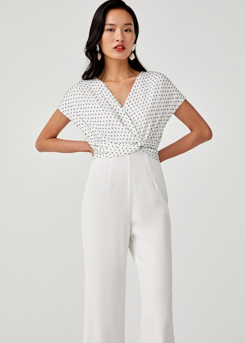 Airin Dobby Dot Twist Front Jumpsuit