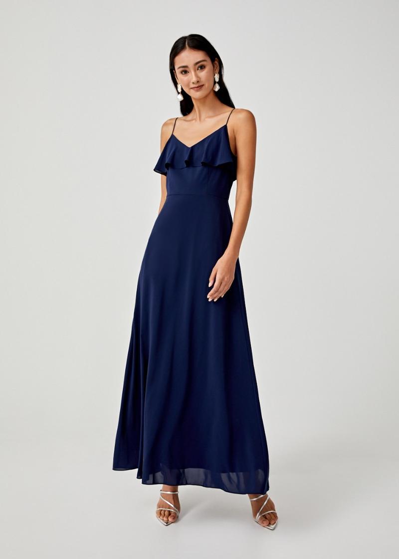 Karina Ruffle Overlay Maxi Dress