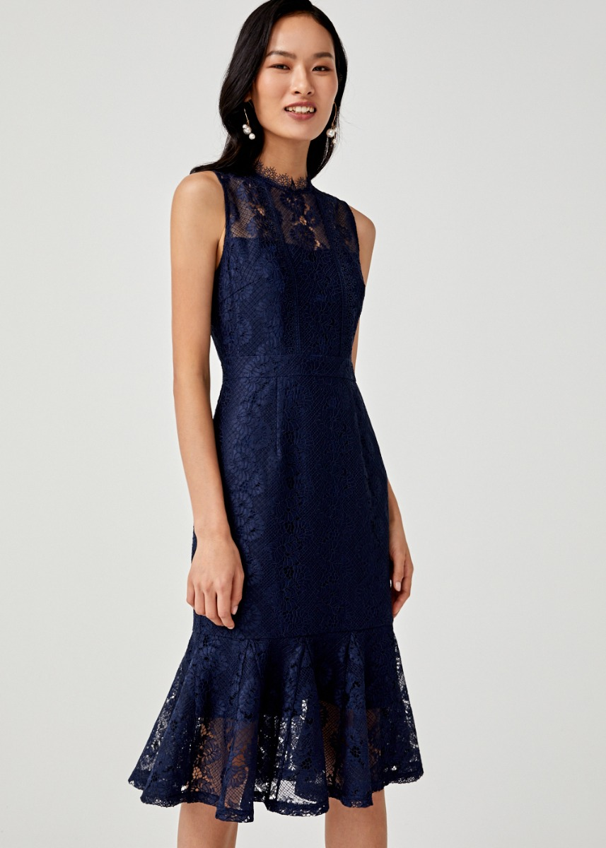 Brylie Lace Overlay Trumpet Dress