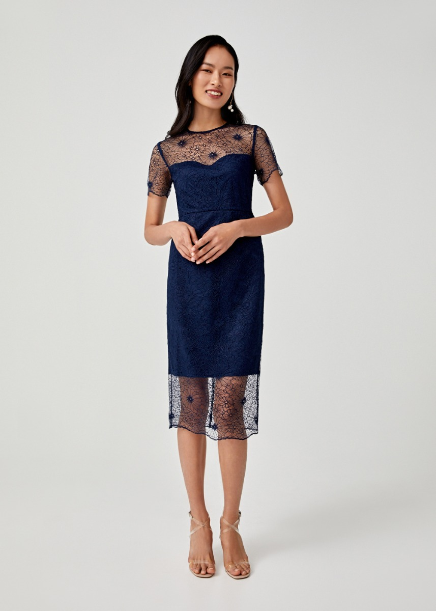 Alisha Lace Overlay Pencil Dress