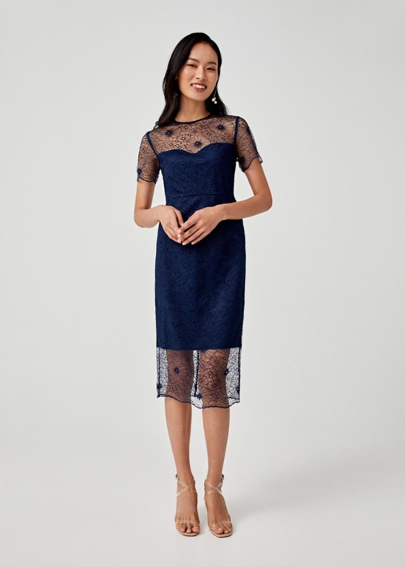 Alisha Lace Overlay Pencil Dress