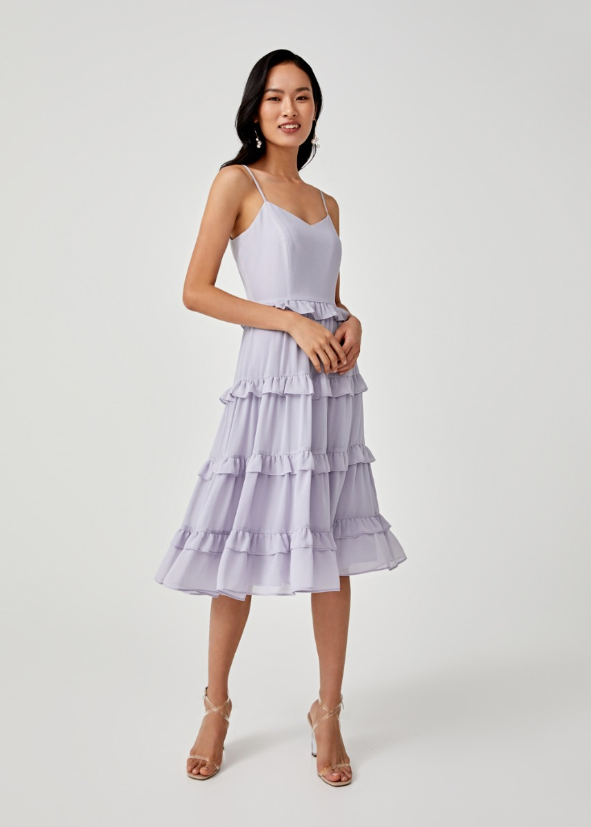 Darlene Ruffle Hem Tier Midi Dress