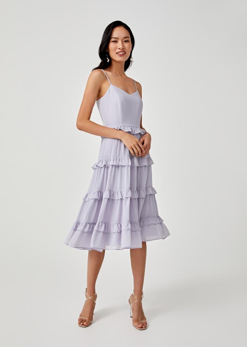 Darlene Ruffle Hem Tier Midi Dress