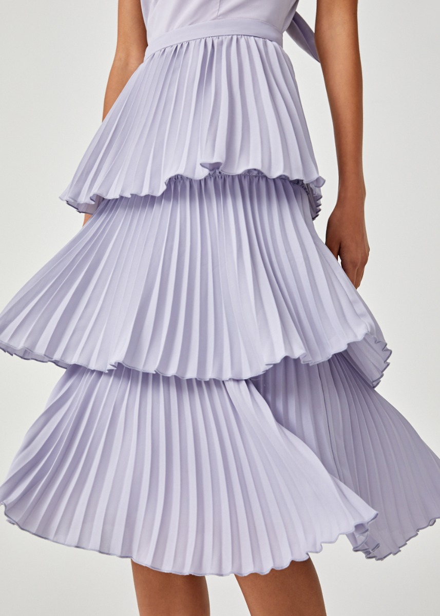 Sorelle Pleated Tier Midi Skirt