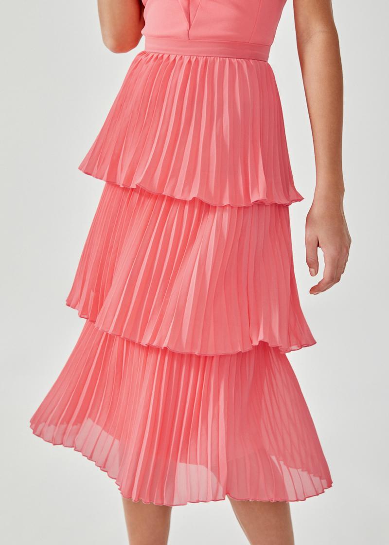 Sorelle Pleated Tier Midi Skirt