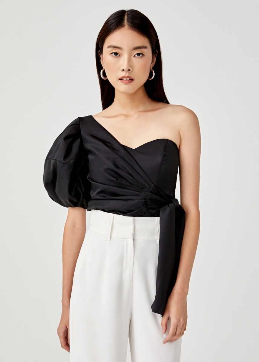 Marion Asymmetrical Balloon Sleeve Top