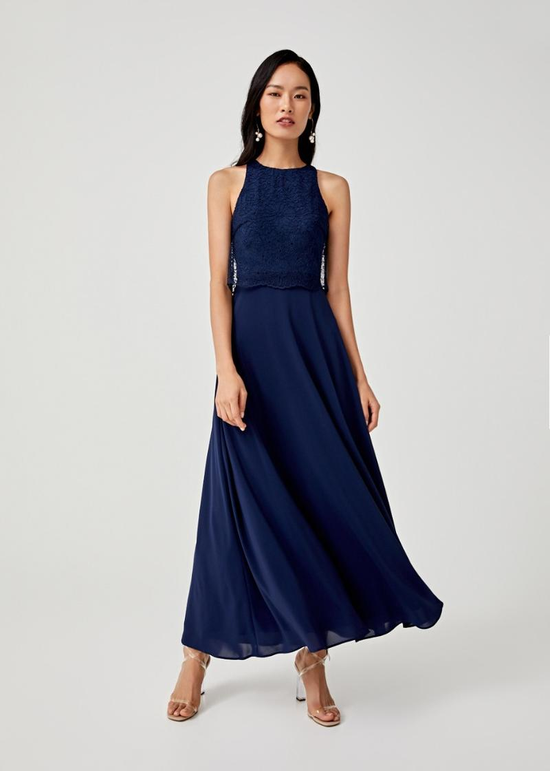 Abigail Lace Overlay Maxi Dress