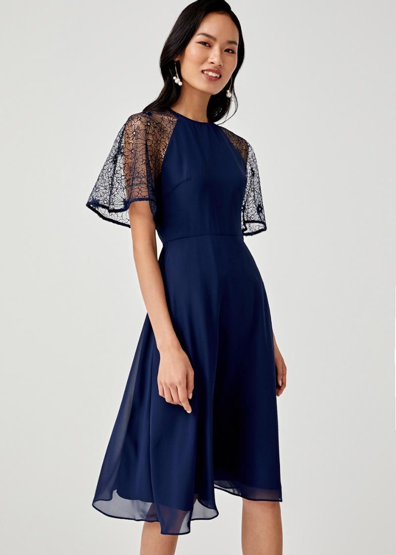 Lillian Lace Sleeve Midi Dress