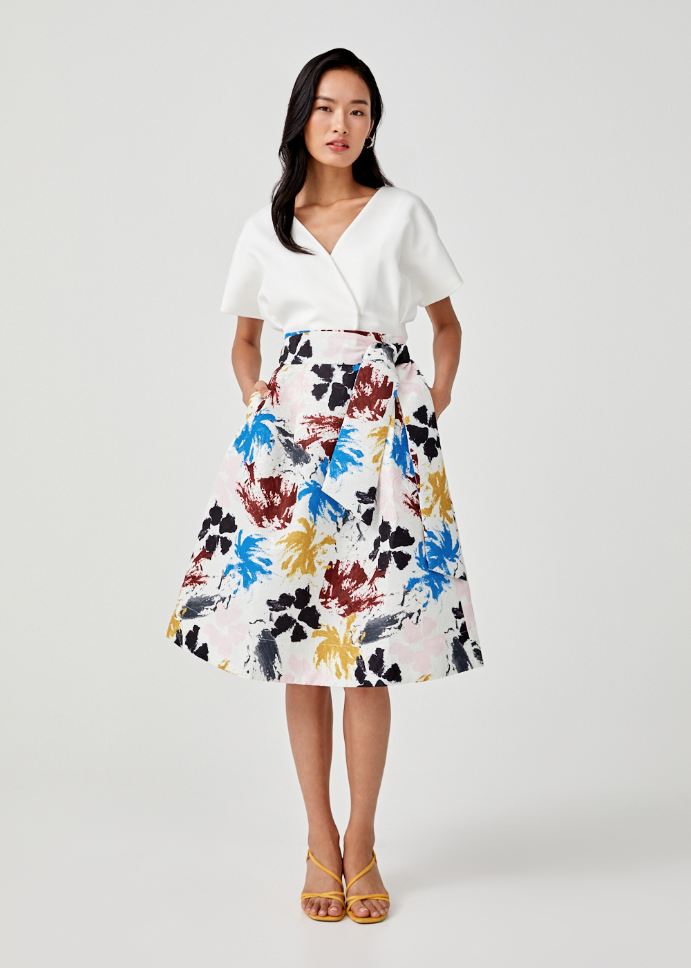 Baize Sash Tie Midi Skirt in Floral Symphony