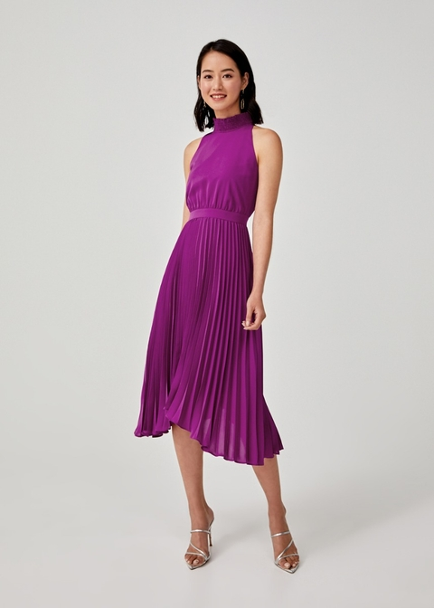 Belinda Pleated Halter Neck Dress