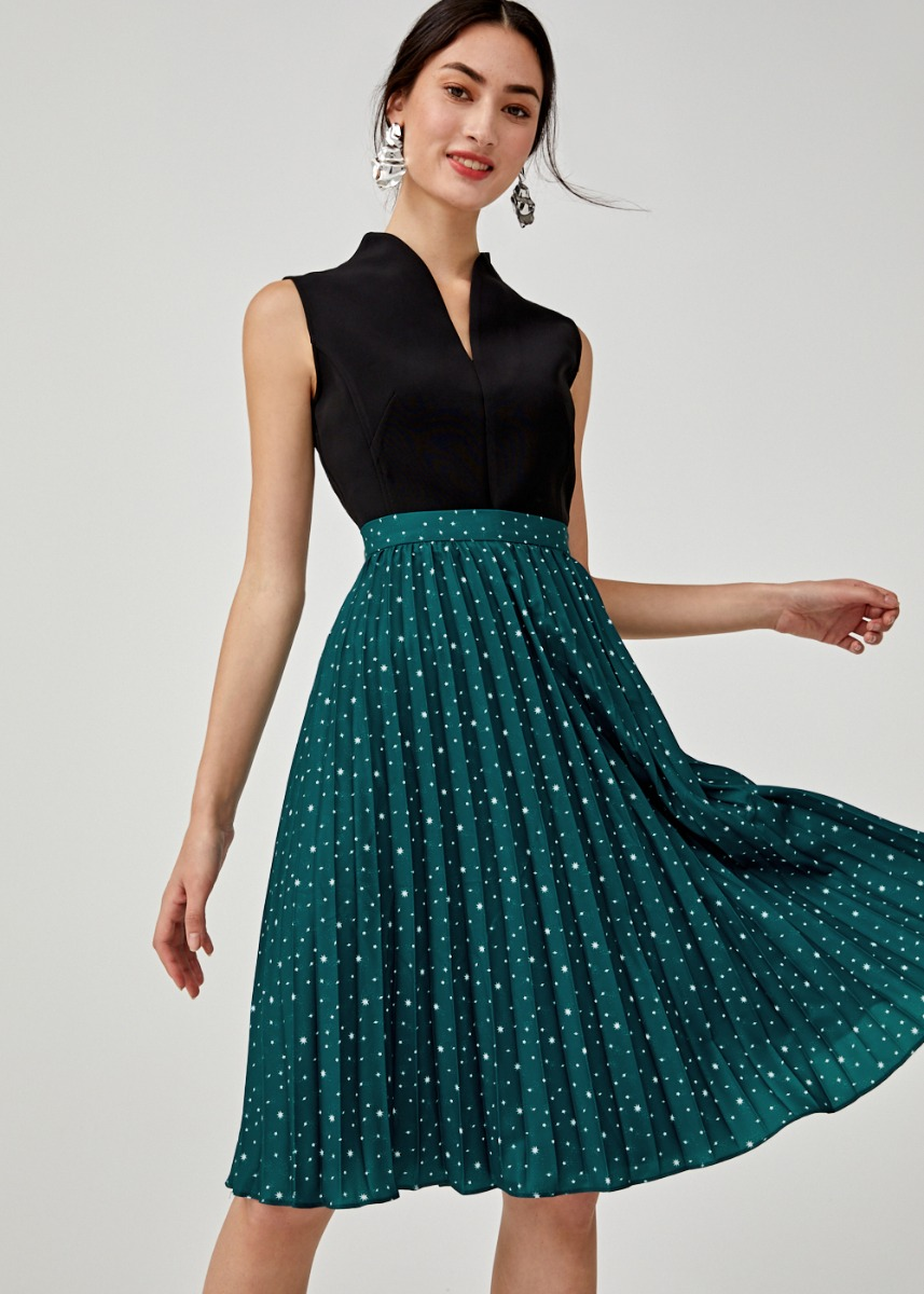 Zora A-line Pleated Midi Skirt in Solaris Atlas