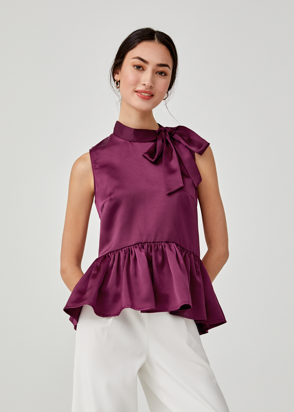 Alsie Satin Relaxed Peplum Top