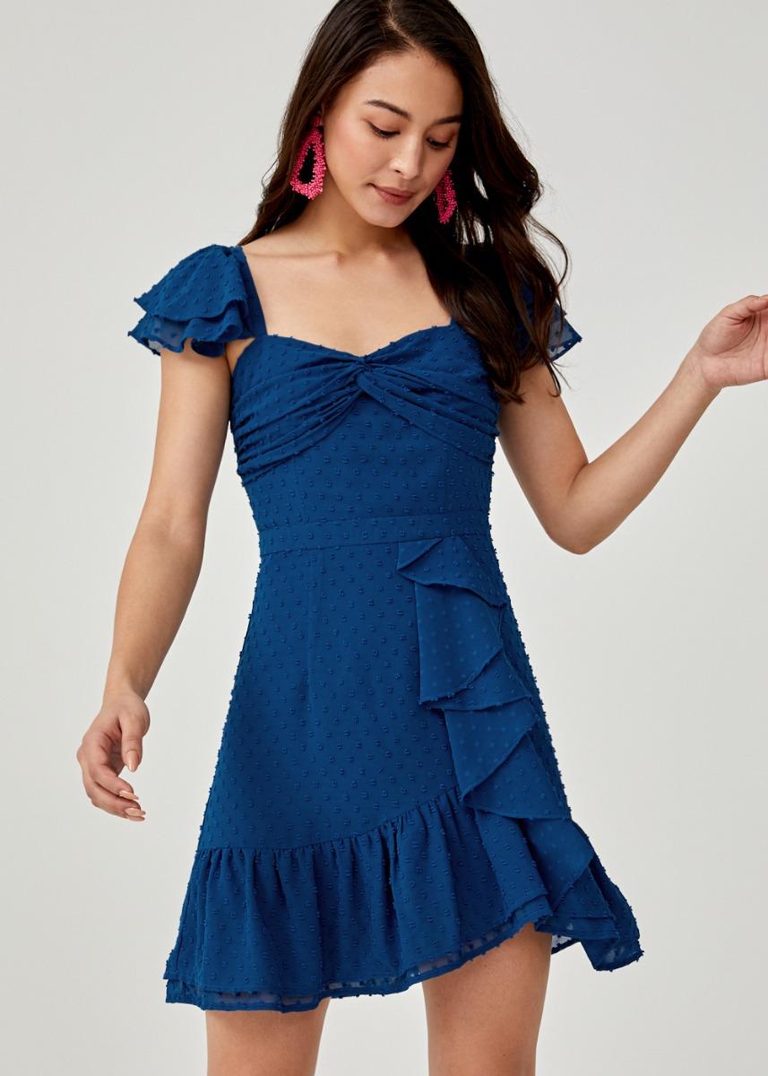 Alcina Dobby Dot Ruffle Dress