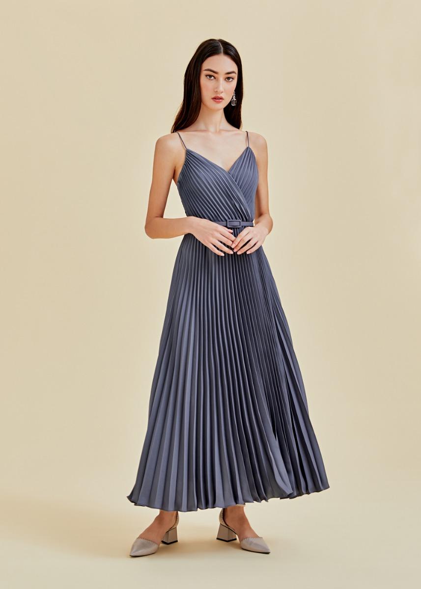 Adelpha Pleated Satin Maxi Dress