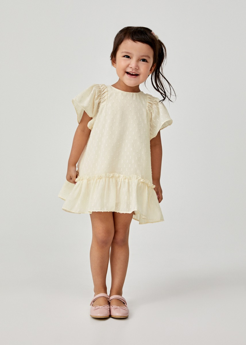 Charis Jacquard Ruffle Hem Dress