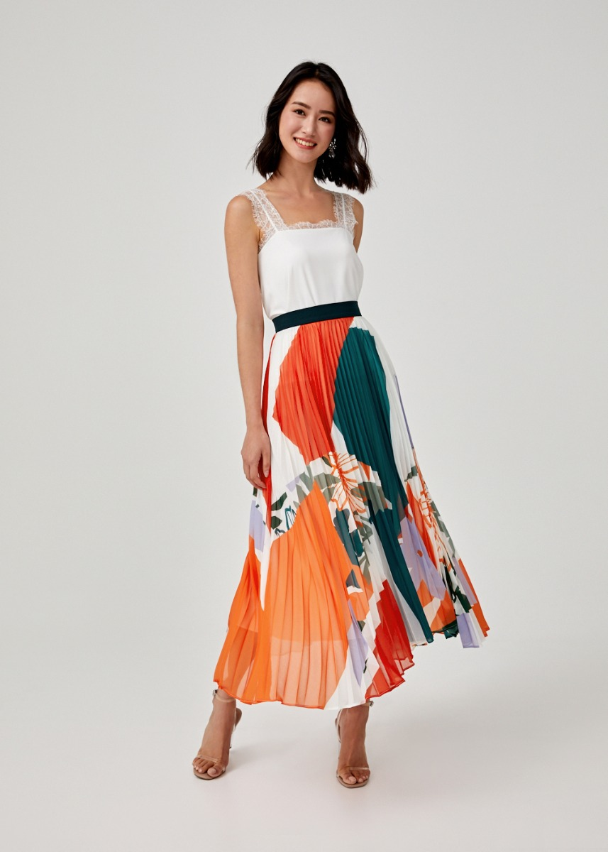 Corinna Pleated Maxi Skirt in Flora Mirage
