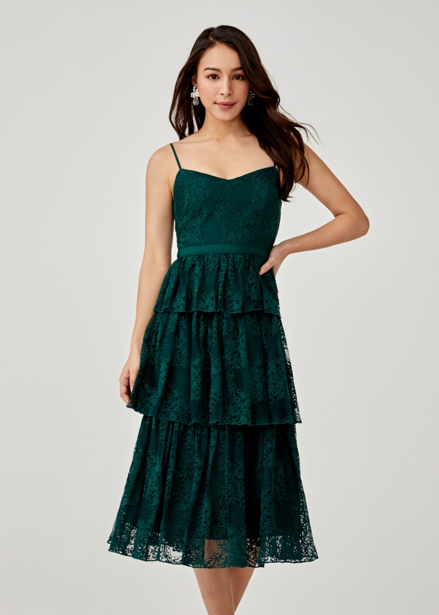 Ivana Tiered Lace Midi Dress
