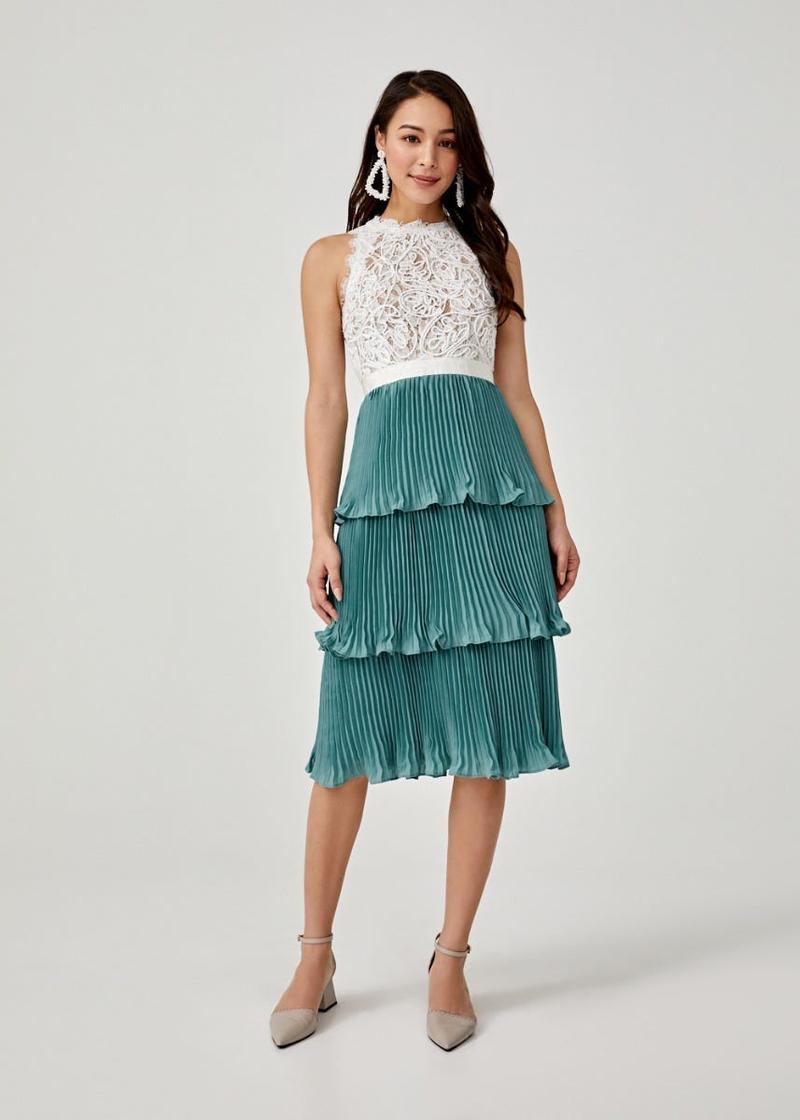 Keegan Pleated Tier Lace Dress