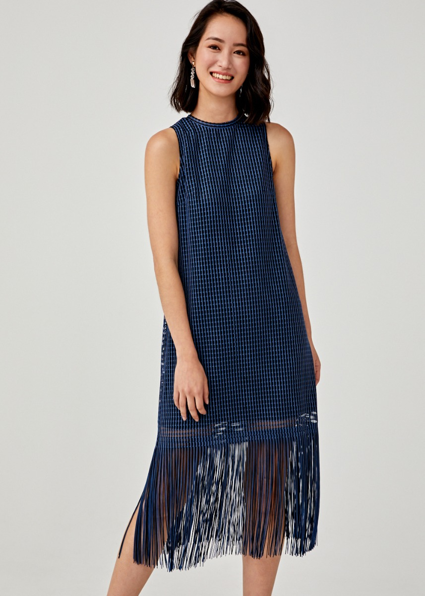 Averie Jacquard Fringe Hem Dress