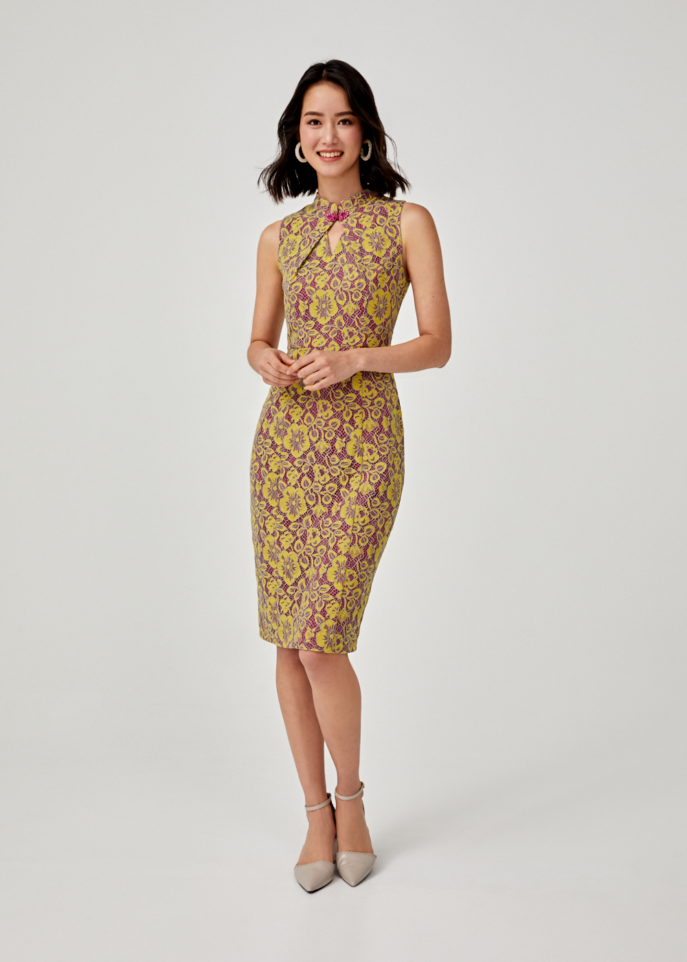 Bevelyn Lace Mandarin Collar Midi Dress