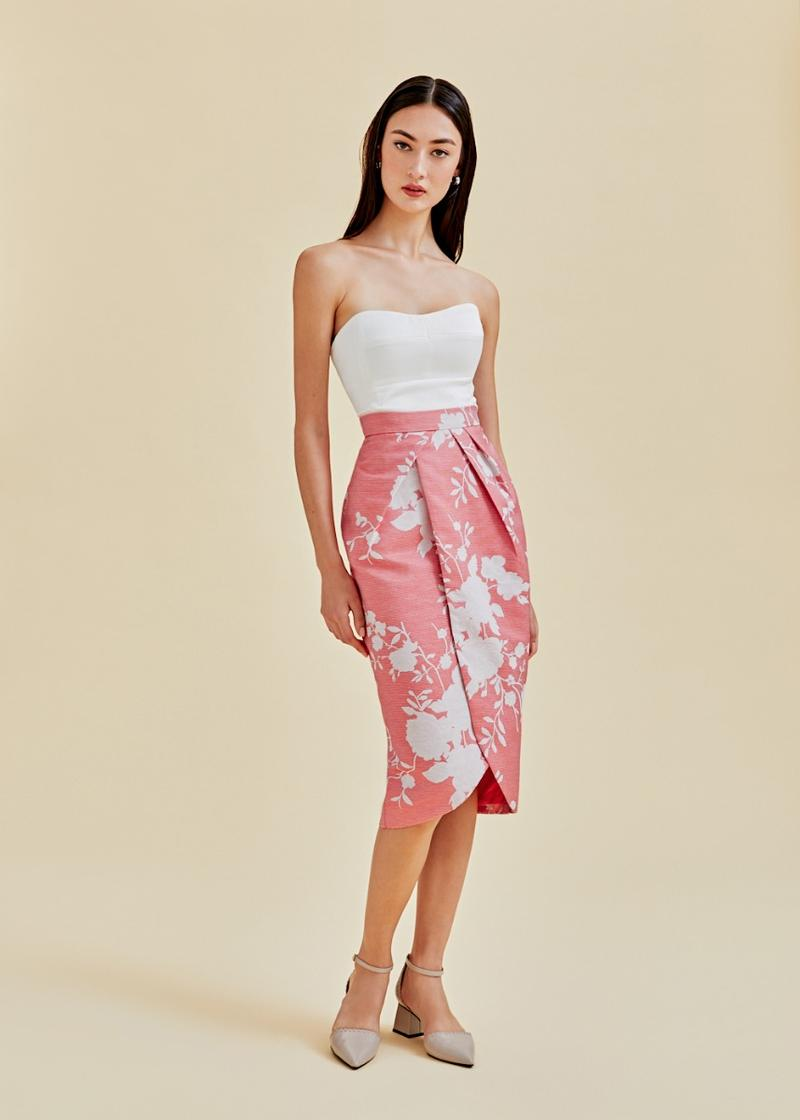 Avalon Jacquard Foldover Pencil Skirt