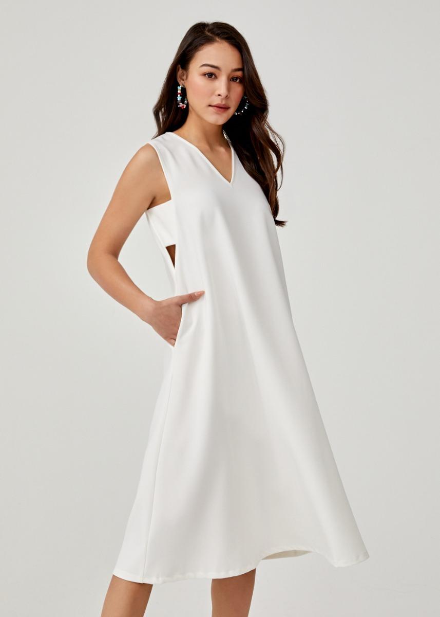 Aldora V-neck Trapeze Dress