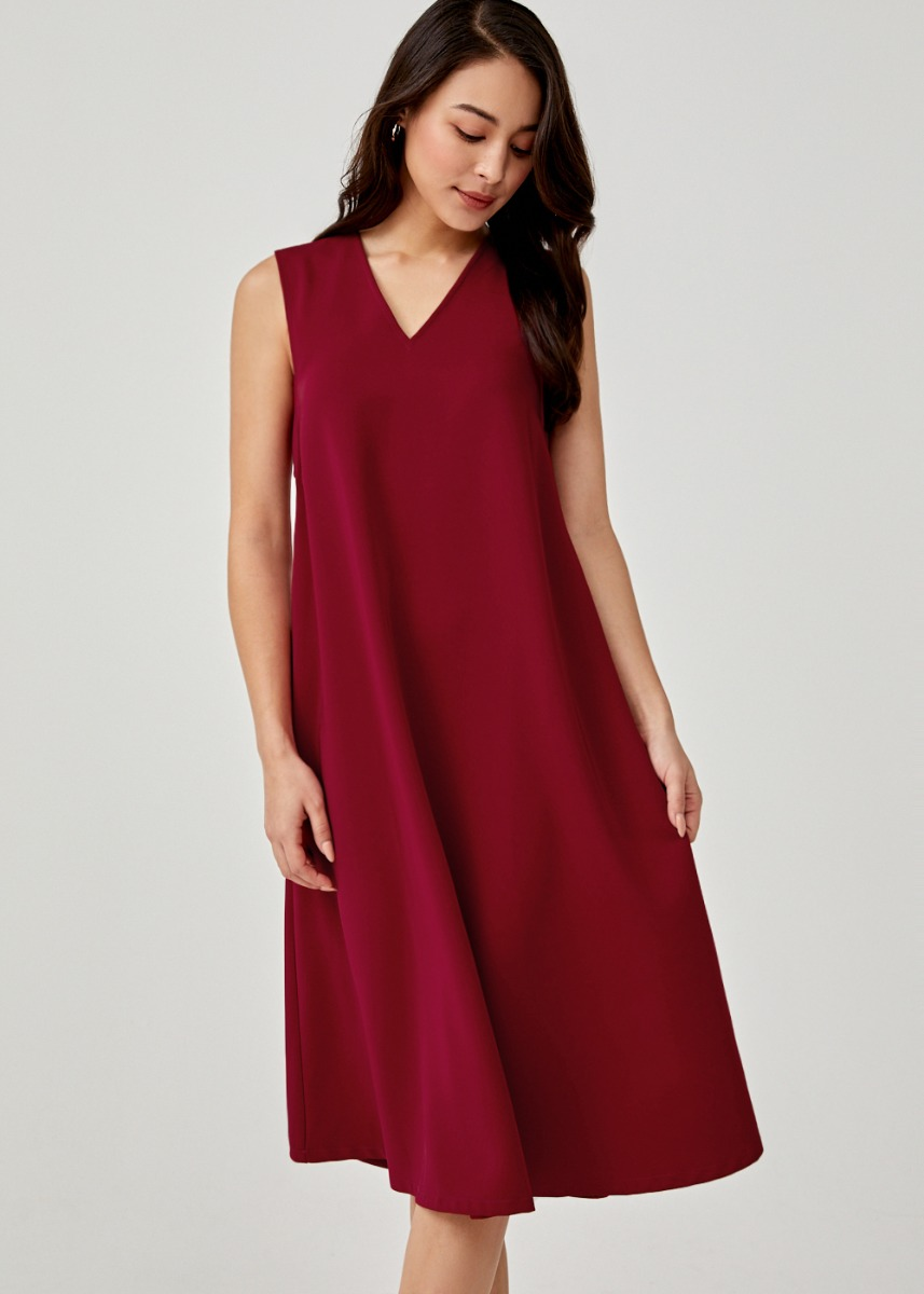 Aldora V-neck Trapeze Dress