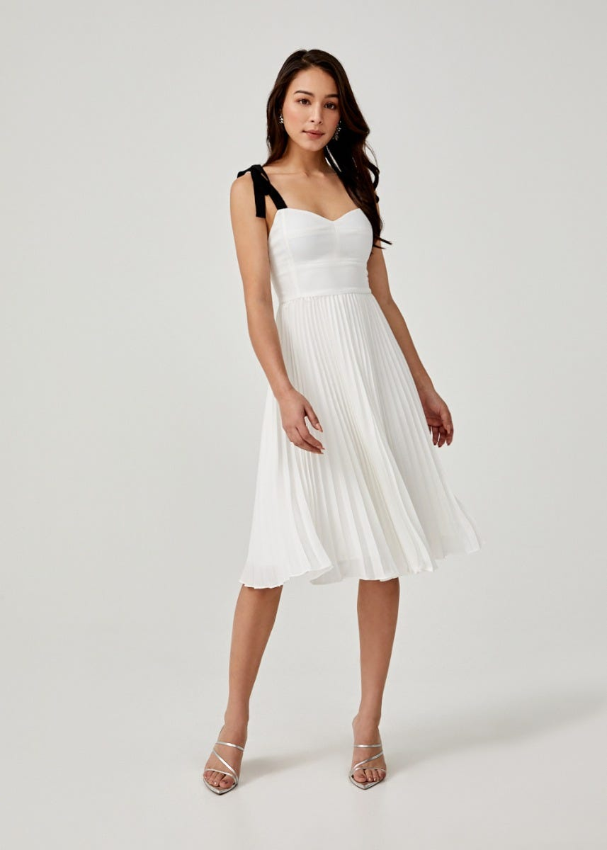 Adonia Padded Ribbon Tie Midi Dress