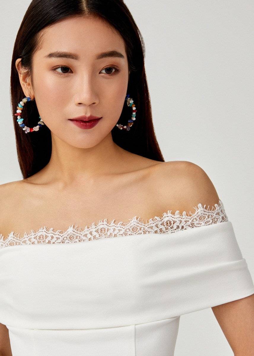 Alenka Lace Trim Off Shoulder Top