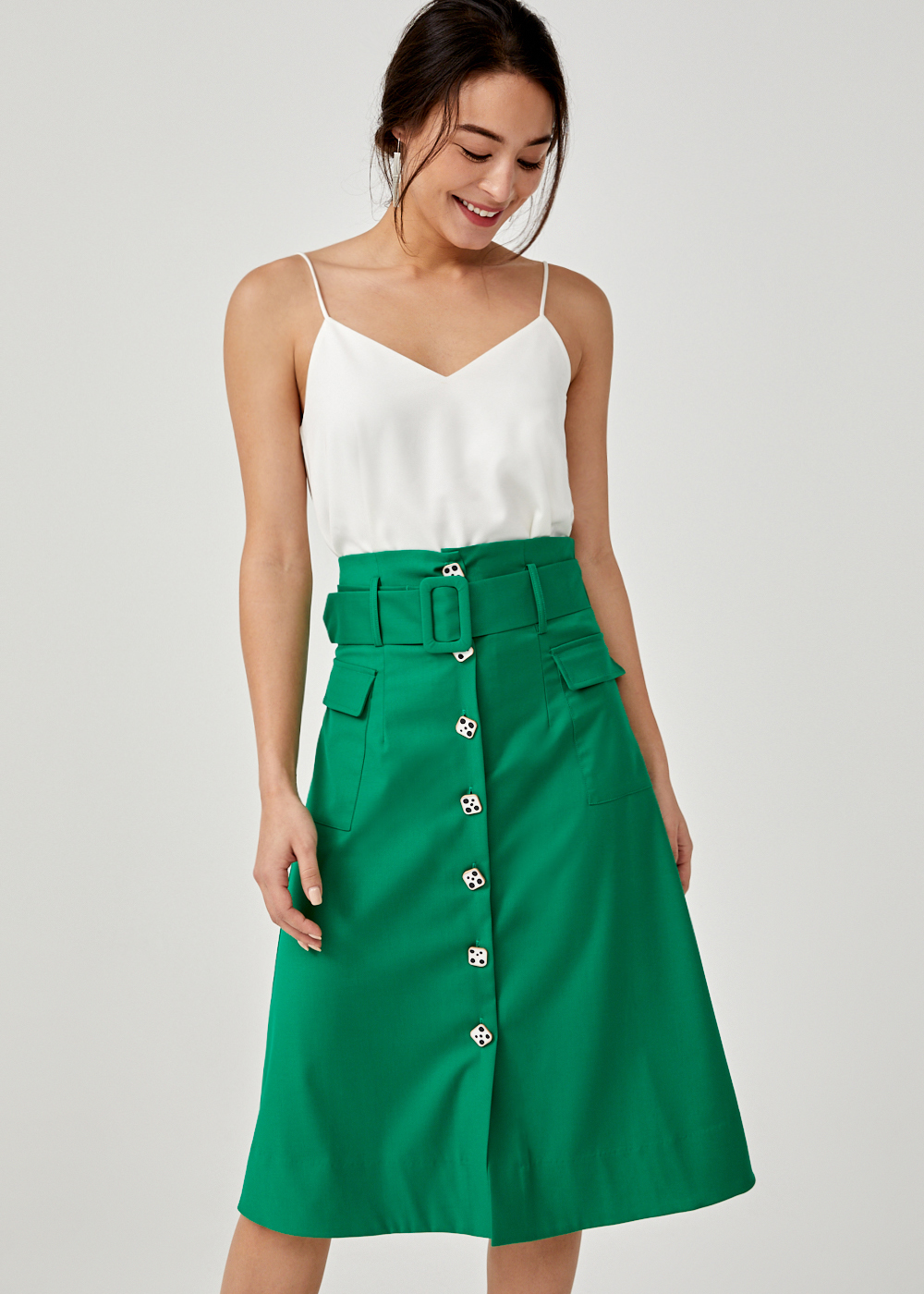 Aglaia Belted A-line Midi Skirt
