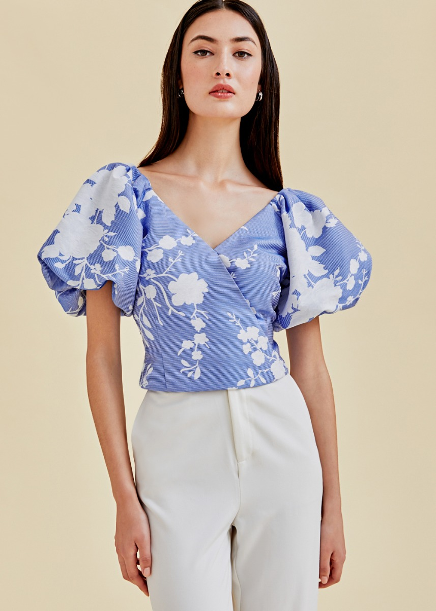 Afia Floral Jacquard Puff Sleeve Top