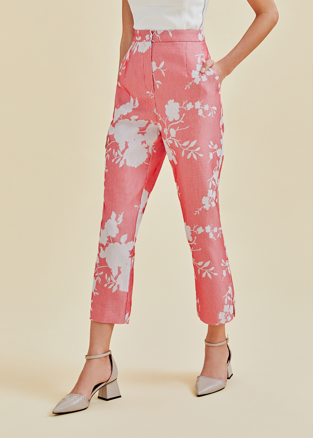 Aerith Floral Jacquard Peg Leg Pants