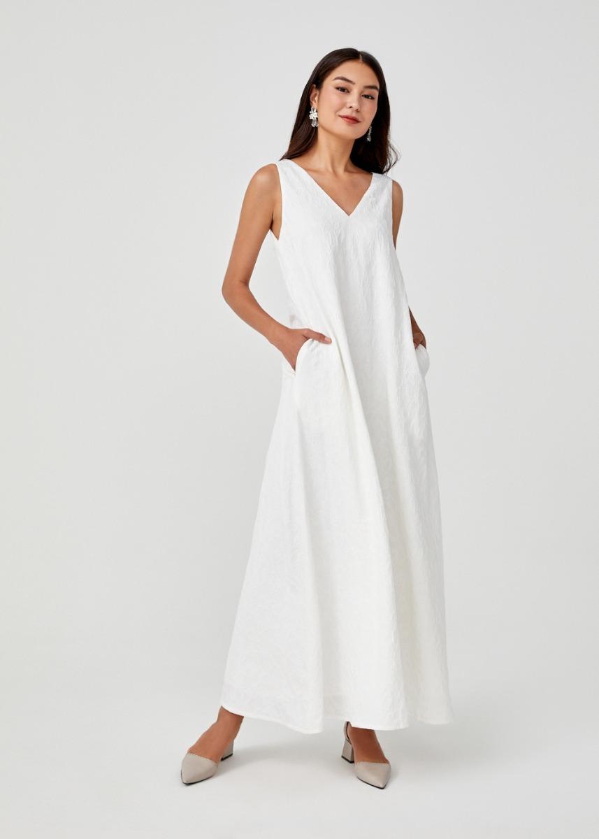Aleydis Jacquard V-neck Maxi Dress