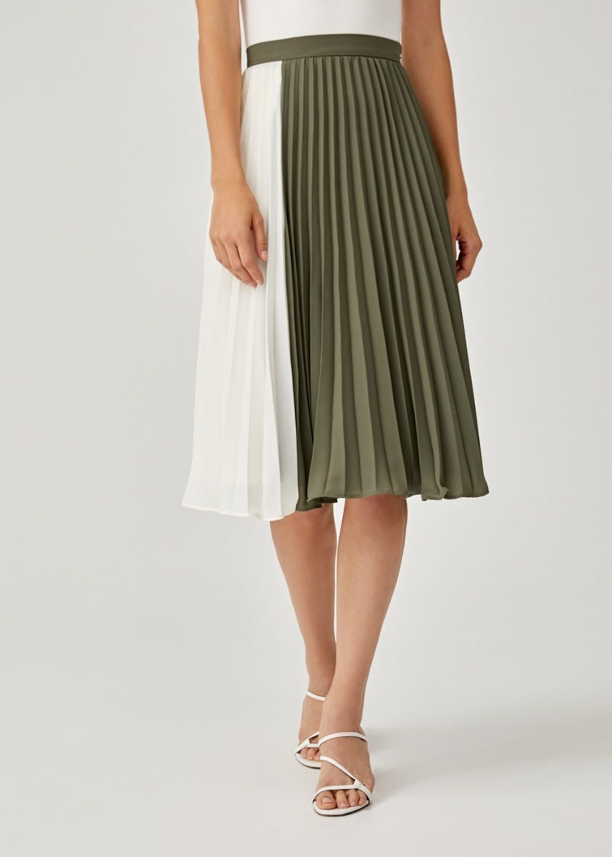 Alona Colourblock Pleated Midi Skirt